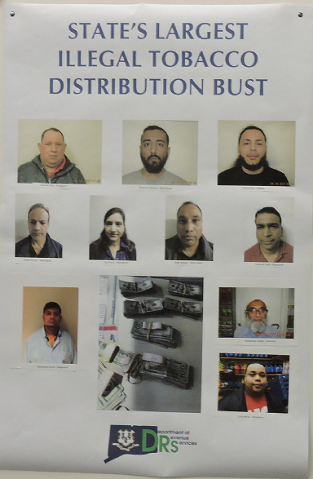 Ten suspects were arrested as part of an investigation into an illegal tobacco distribution ring. (DRS photo)
