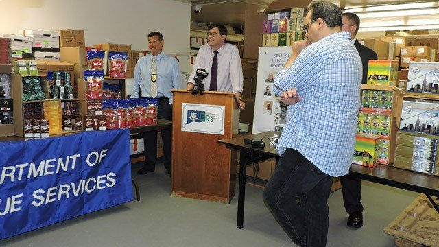 DRS Commissioner Kevin Sullivan announces the state's largest illegal tobacco bust. (DRS photo)
