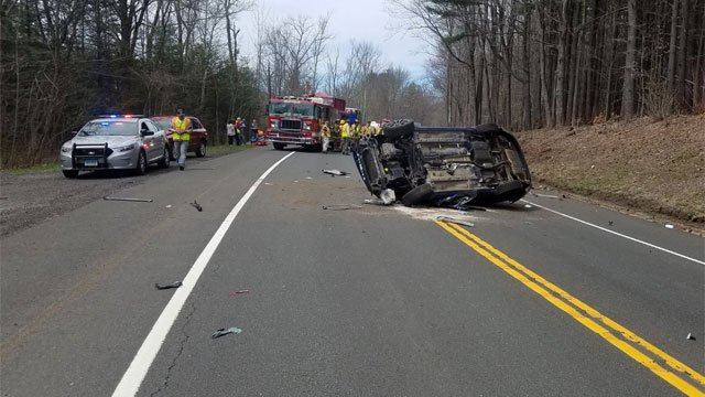 Crash shuts down Route 44 in Colebrook on Monday afternoon. (@NorfolkPIO1)