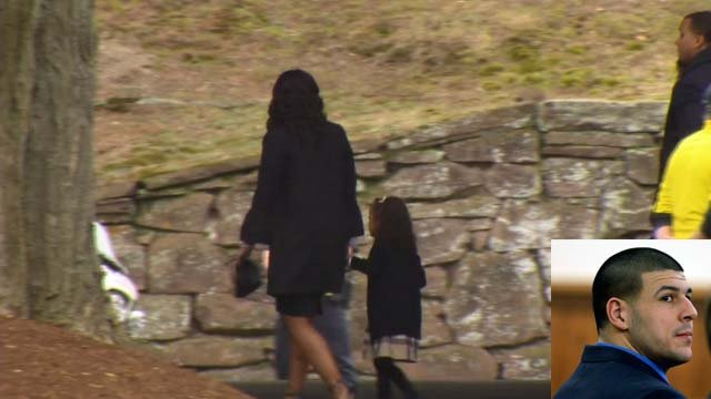Hernandez's fiancee and 4-year-old daughter were seen walking into the funeral home on Monday (WFSB)