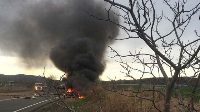An eyewitness captured this image of the plane crash in Meriden (iwitness)