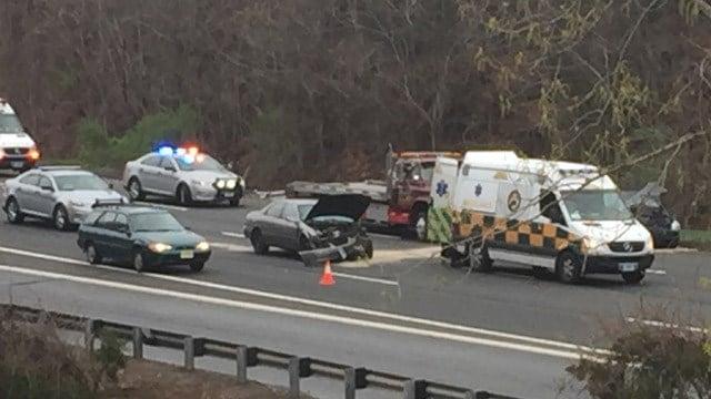 A three-car crash slowed traffic on I-91 north in Rocky Hill. (WFSB photo)