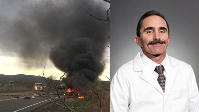 Dr. Joseph Tomanelli was killed when the plane he and his son were flying crash in Wallingford on Monday night. (iWitness/Hartford HealthCare photos)