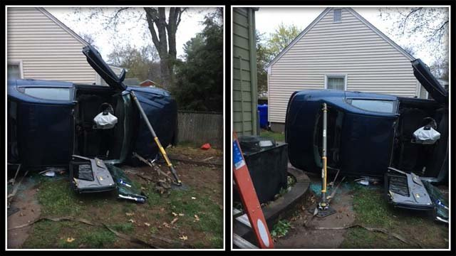 A car crashed into a woman's backyard in East Hartford Tuesday evening (Candice Breslin and Kelly Breslin)