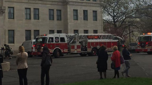 The state capitol was evacuated for a fire alarm on Thursday. (WFSB photo)