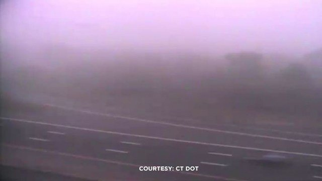 DOT cameras show dense fog in the area of a tractor trailer rollover on the Route 9 ramp in Old Saybrook. (DOT photo)