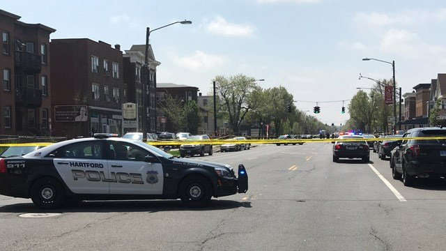 Three people were shot in Hartford on Friday morning.  (WFSB photo)
