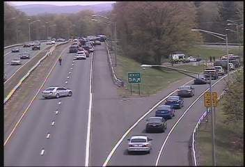 DOT camera showing traffic being diverted off Exit 5A.  (DOT Camera)