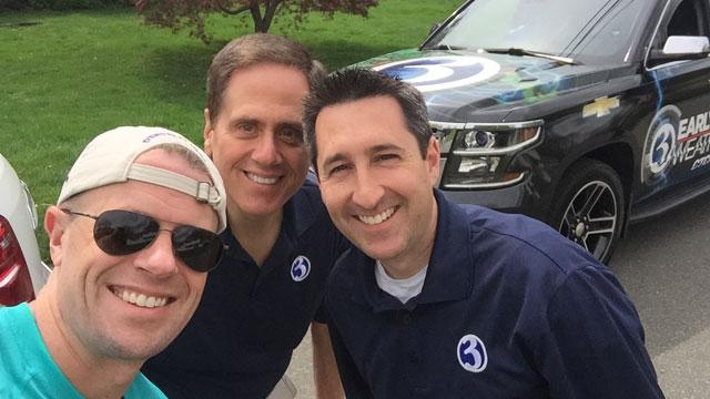 Mark Dixon, Bruce DePrest and Matt McFarland visited the Daffodil Festival parade.  (WFSB)