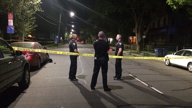 A bicyclist collided with a motorcycle in New Haven on Satuday night. (WFSB)