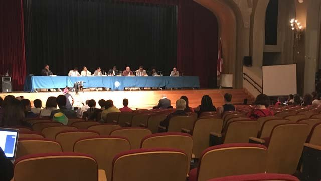 Hartford school officials addressed budget issues at a meeting on Tuesday (WFSB)