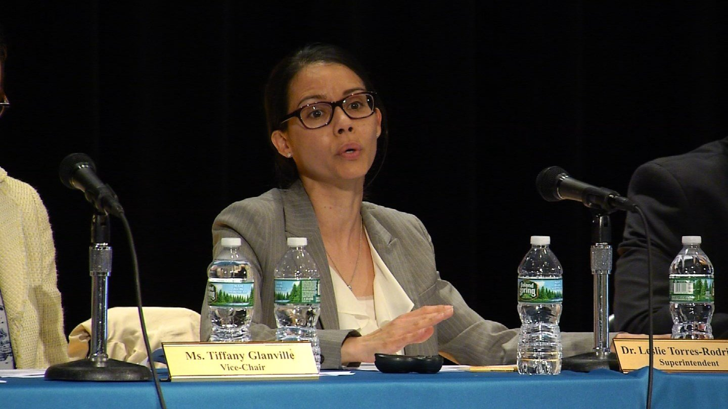 Superintendent Leslie Torres-Rodriguez listened to public comment about a school budget shortfall in Hartford on Tuesday night. (WFSB photo)