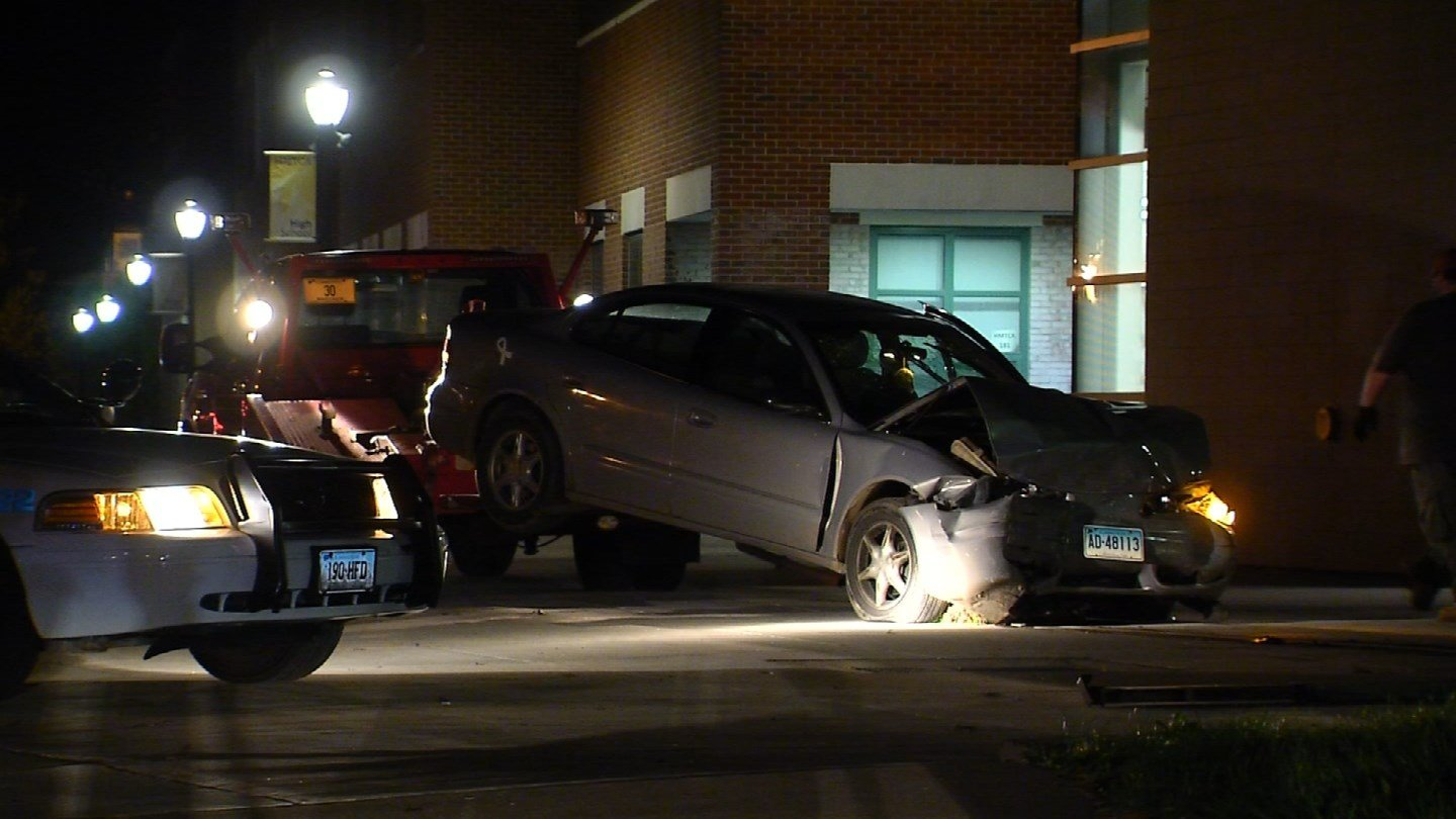 A car slammed into a building on Broad Street in Hartford. (WFSB photo)