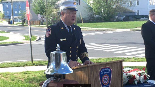Fallen firefighters were remembered during New Britain service on Wednesday morning. (WFSB)