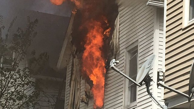 Firefighters are fighting a fire in Lincoln Street in Hartford. (Hartford Fire Dept. photo)