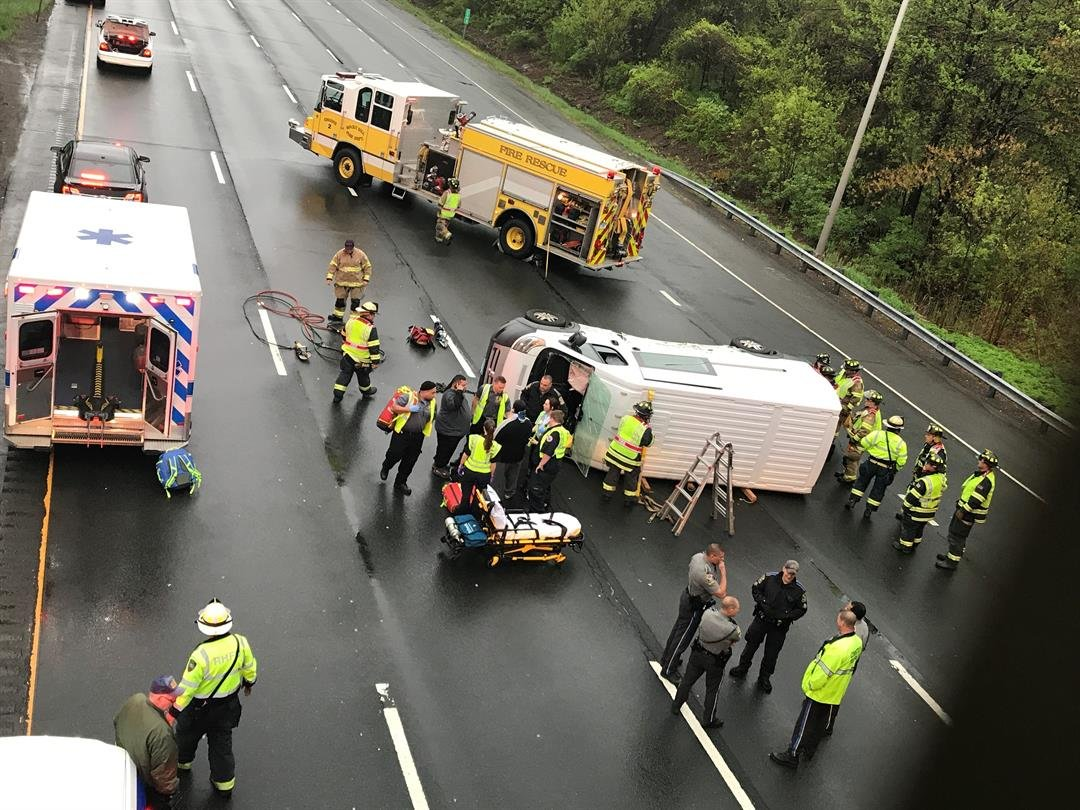 Van which rolled over on I-91 northbound in Rocky Hill.  (WFSB photo)