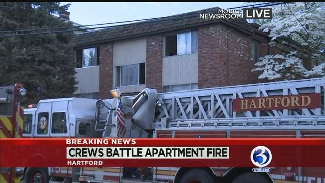 Hartford firefighters battled a fire at an apartment building Sunday morning. (WFSB)