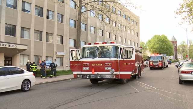 An apartment building in Meriden was evacuated on Sunday because of a fire (WFSB)
