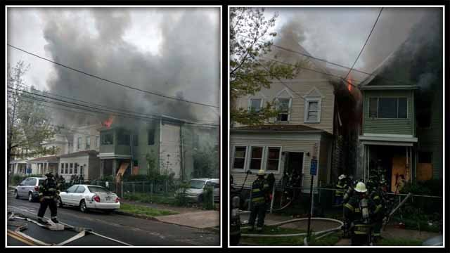 Crews battled a fire at a vacant home in New Haven on Sunday (New Haven Fire Twitter)