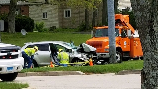 Police are investigating crash on Broadway in Colchester on Monday. (Viewer Photo)