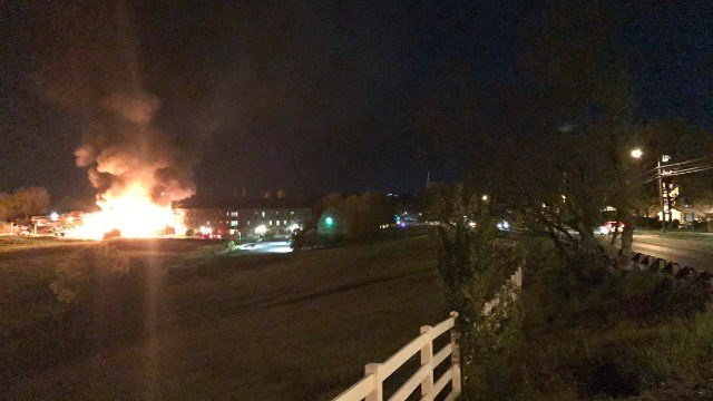 A large fire damaged a landscaping barn on the UConn campus (Contributed by Omario's Pizza).