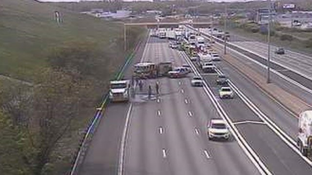 A tractor-trailer caught on fire on Interstate 91 in Hartford on Tuesday morning. (CT DOT)