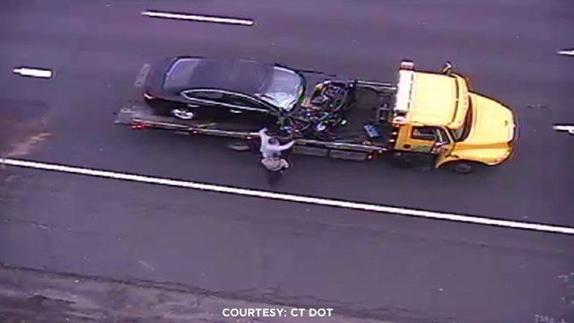 A car was struck by a truck tire on I-91 south in Hartford on Wednesday. (DOT photo)