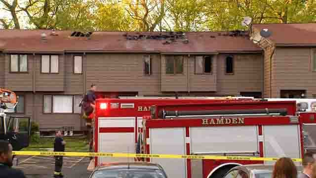 Four units were involved in a fire in Hamden on Wednesday (WFSB)