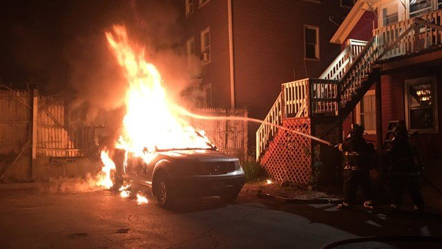 Firefighters battled a car fire in Denison Avenue overnight. (@Local1522 photo)