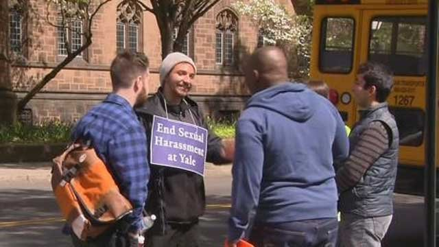 Graduate students at Yale University blocked streets in New Haven on Thursday morning during a protest. (WFSB)