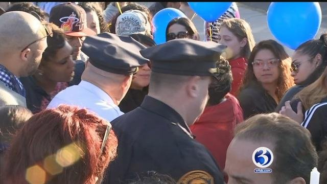 A vigil was held after officer-involved shooting in Bridgeport on Tuesday. (WFSB)