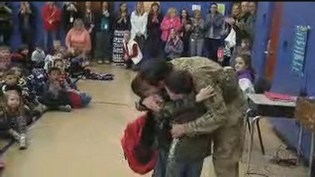 A solider returning home surprised his three children on Monday morning. (WFSB)