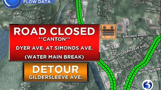yer Ave was closed at Simonds Avenue because of a water main break. (WFSB)