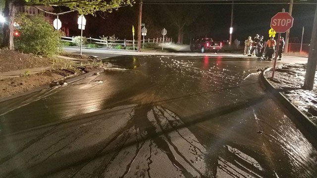 A water main break has closed Dryer Avenue. (Canton CT Volunteer Fire and EMS Department)