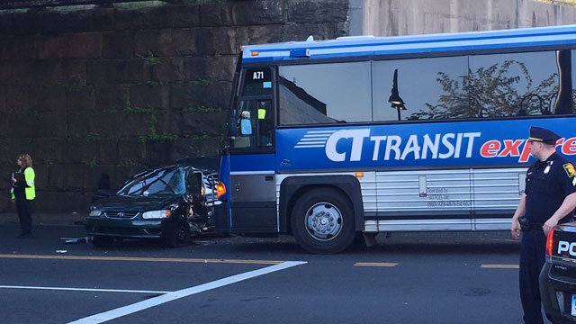 A car and Transit bus were involved in a crash in Hartford on Tuesday morning. (WFSB)
