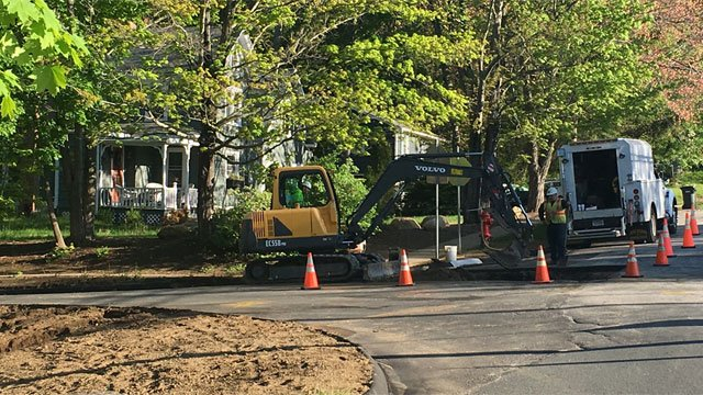 Crews were working to repair water main break on Tuesday. (WFSB)