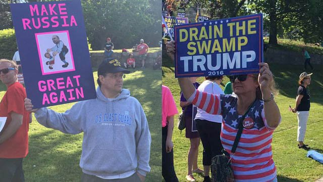 Protesters and supporters peacefully coexisted at a New London park on Wednesday morning. (WFSB photos)