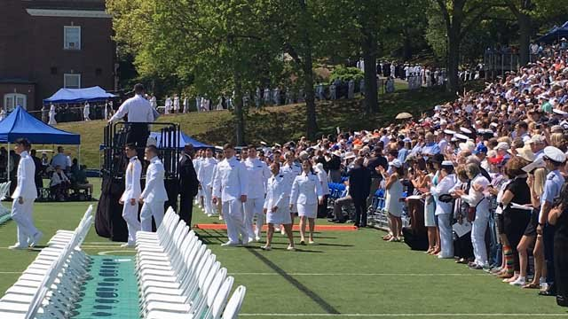 Preparations for President Donald Trump's arrival were underway for days at the Coast Guard Academy in New London. (WFSB)