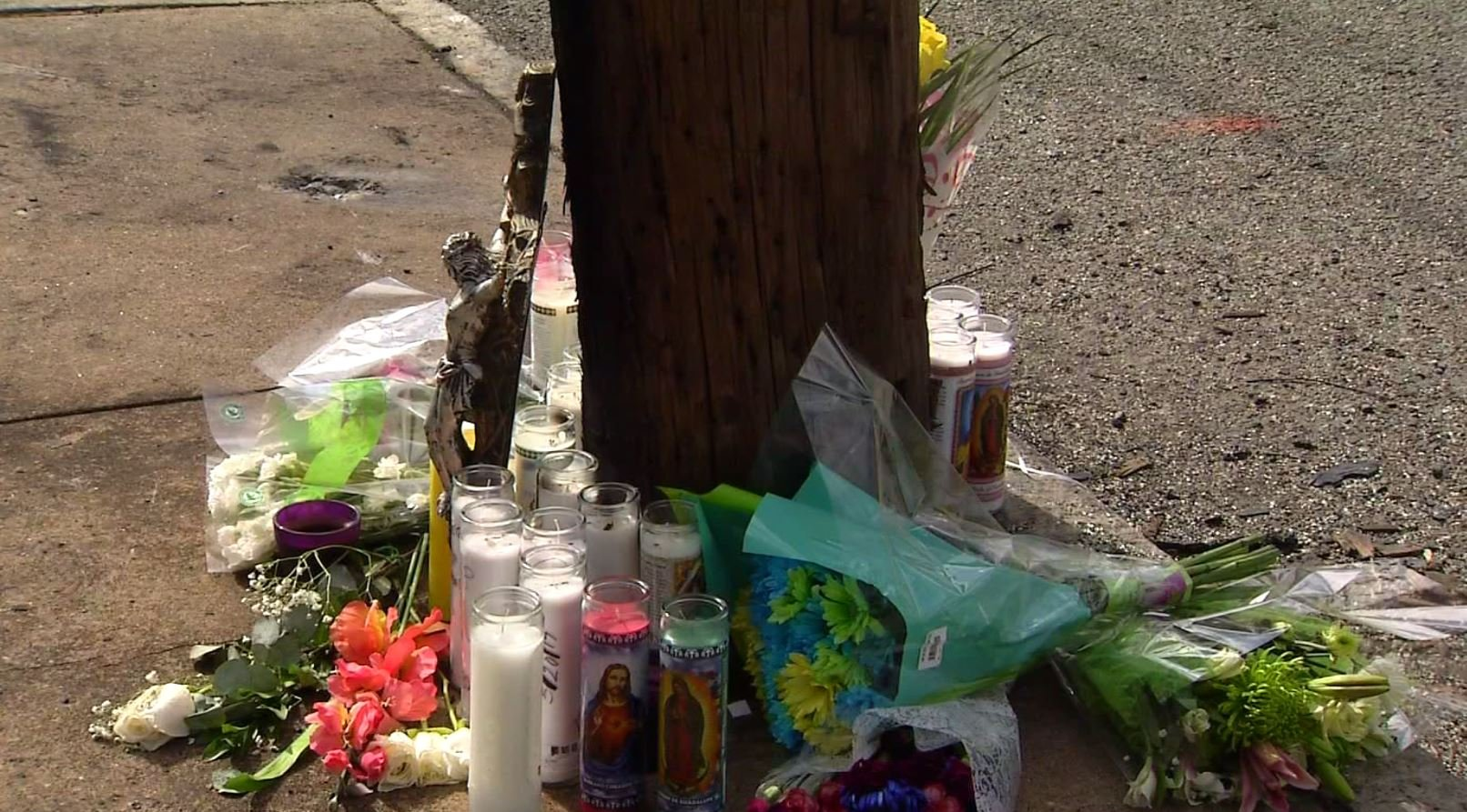 A makeshift memorial was established by those grieving the loss of three young lives in an overnight car crash. (WFSB).
