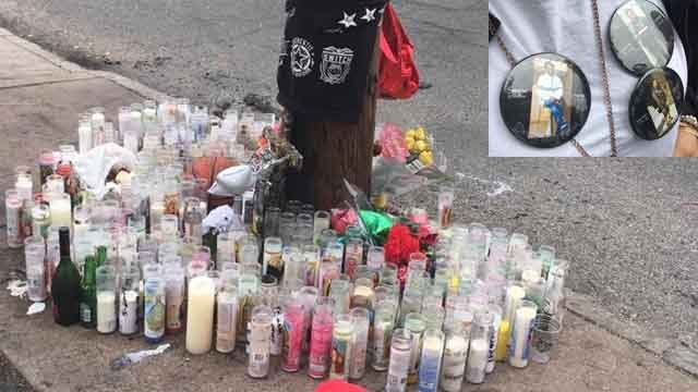 A makeshift memorial has grown at the site of the crash (WFSB)