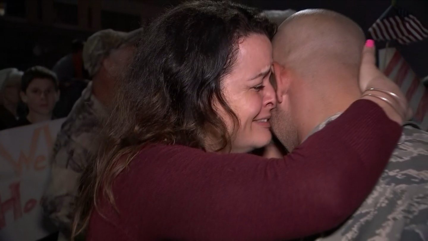 A hundred airmen and women returned home to East Granby on Monday. (WFSB photo)