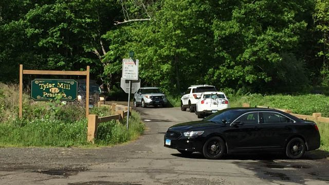 A police investigation is under way at the Tyler Mill Preserve in Wallingford. (WFSB)