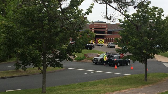 Somers High School was evacuated after a small explosion on Tuesday. (WFSB)