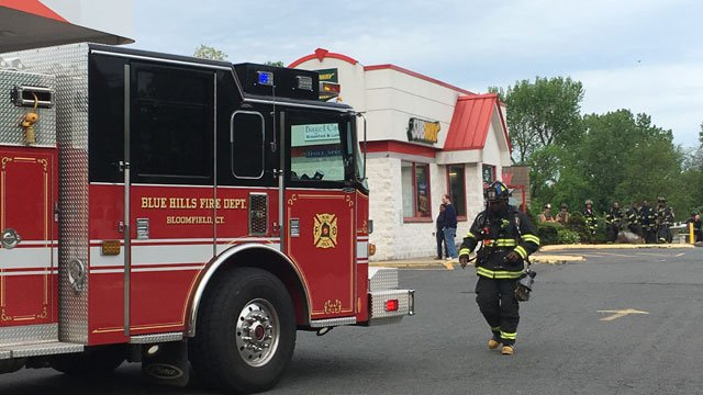 DEEP and Blue Hills firefighters were on scene at Citgo on Blue Hills Avenue after a CO2 leak on Wednesday. (WFSB)