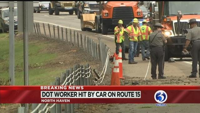 DOT worker struck on Route 15 in North Haven