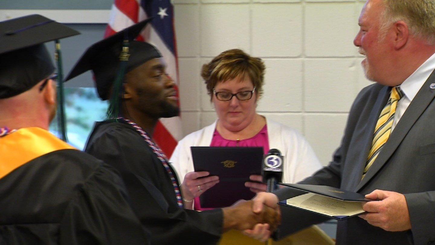 Six inmates graduated from college on Wednesday. (WFSB)