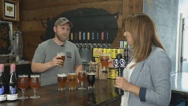 Courtney has a brew at Black Hog Brewing Company
