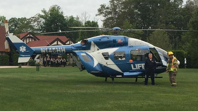 The Life Star emergency helicopter landed at St. Clements Castle to help transport the crash victim. (East Hampton Volunteer Fire Dept.)