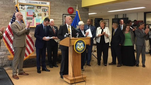 Education officials, politicians and parents rallied behind East Hartford High School following comments by Education Secretary Betsy Devos. (WFSB)