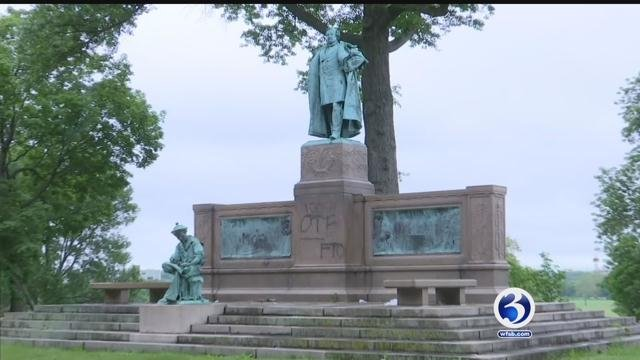 Vandalism has been seen around the Colt monument in Hartford (WFSB)